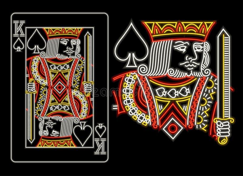 Konung av spadar i neon royaltyfri illustrationer