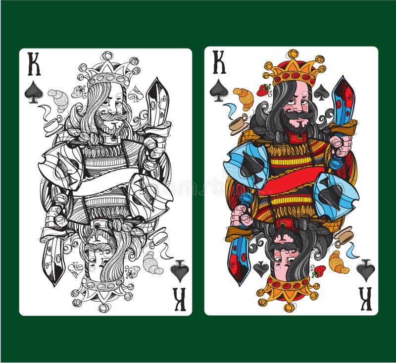 Konung av spadar som spelar kortet vektor illustrationer
