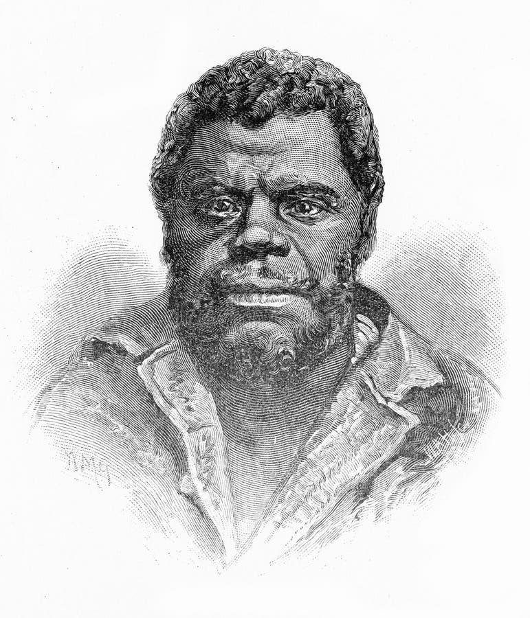 Konung Billy, den sista Tasmanian aboriginer royaltyfri illustrationer