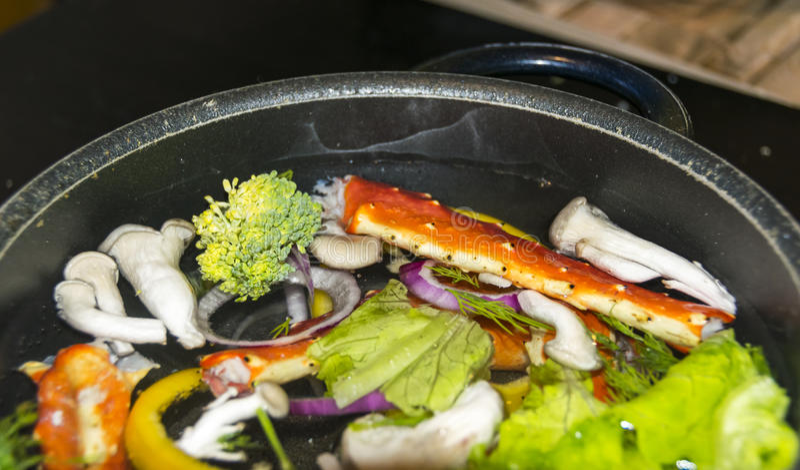 Konung Crab Dishes royaltyfri bild