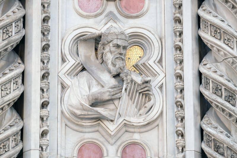 Konung David, portal av Florence Cathedral arkivbild