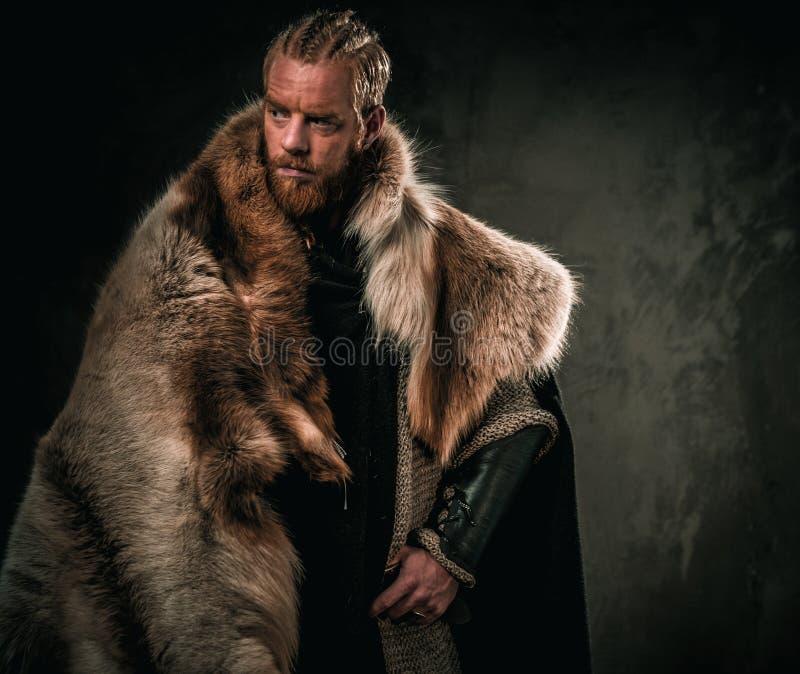 Konung de Viking en ropa tradicional de un guerrero imagen de archivo libre de regalías