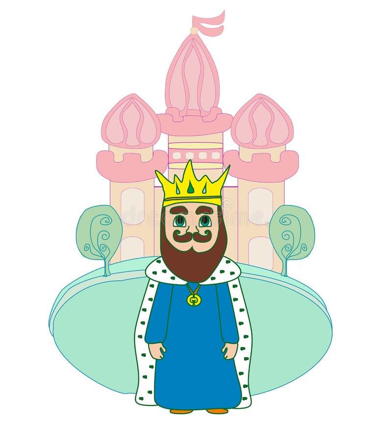 Konung framme av slotten royaltyfri illustrationer