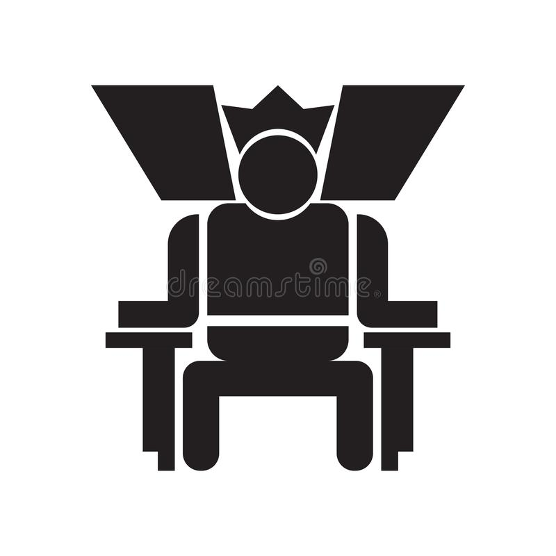 Konung i hans tecken och symbol för biskopsstolsymbolsvektor som isoleras på vit bakgrund, konung i hans biskopsstollogobegrepp royaltyfri illustrationer