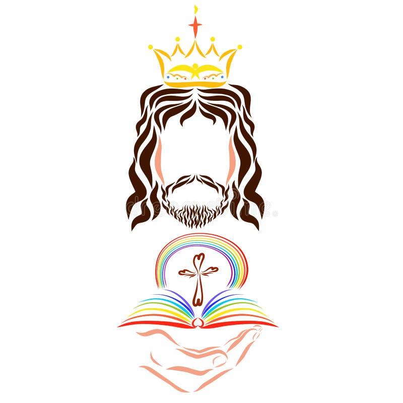 Konung Jesus Christ med en regnbågebibel och ett kors i hans hand royaltyfri illustrationer