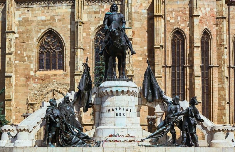 Konung Matthias Corvin Statue royaltyfri foto