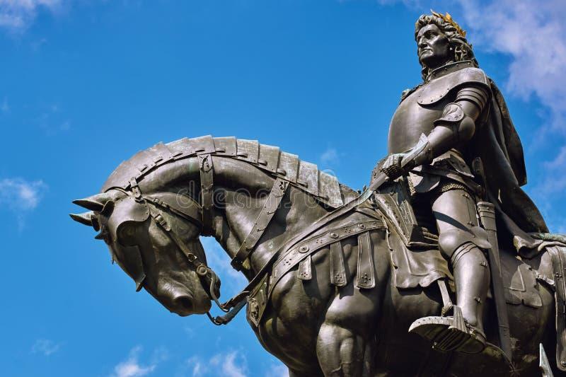 Konung Matthias Corvin Statue arkivbild