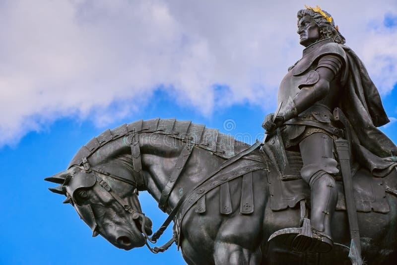Konung Matthias Corvin Statue arkivfoton