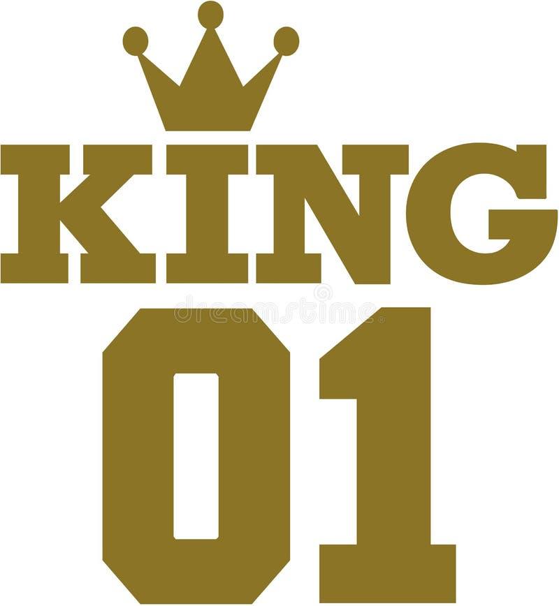 Konung 01 med kronan stock illustrationer