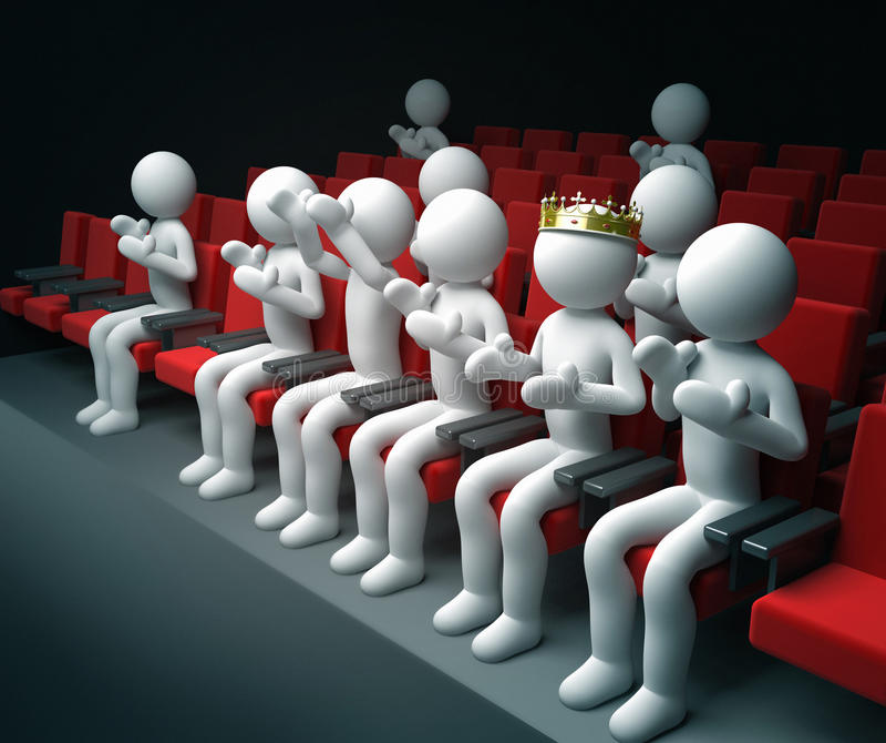 Konung och annan kapacitet för folkapplådteater stock illustrationer