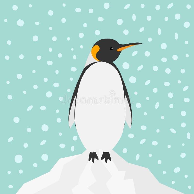 Konung Penguin Emperor Aptenodytes Patagonicus på det insnöade isberget bakgrunden för Antarktis för vinter för himmellägenhetdes vektor illustrationer