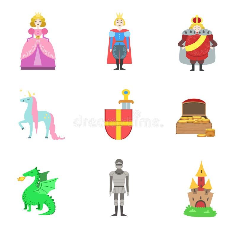 Konung, prins och prinsessa And Related To dem objekt royaltyfri illustrationer