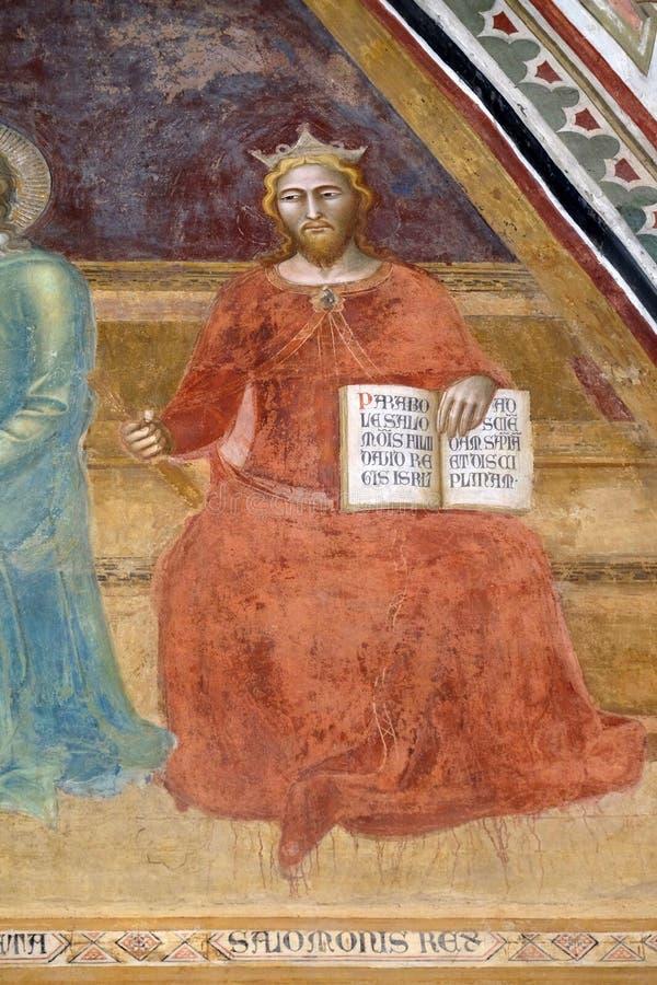 Konung Solomon, freskomålning i den Santa Maria Novella kyrkan i Florence arkivbild