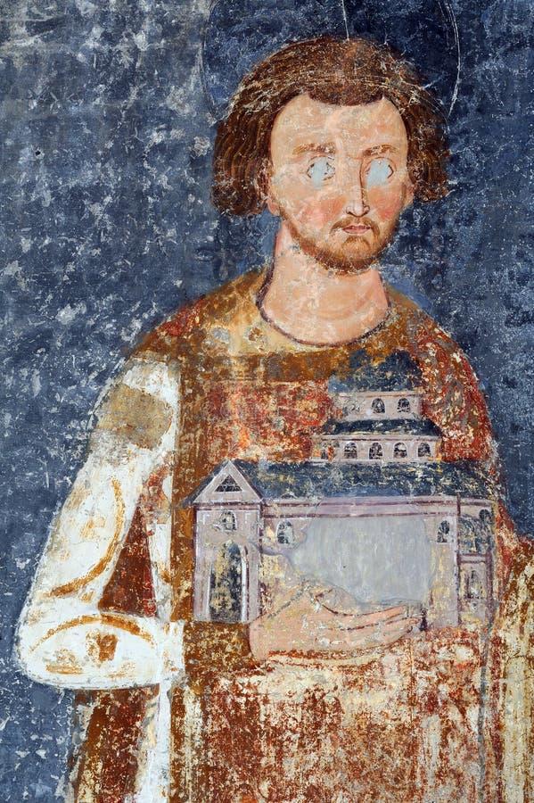 Konung Stefan Vladislav, fresco från Mileseva arkivbild