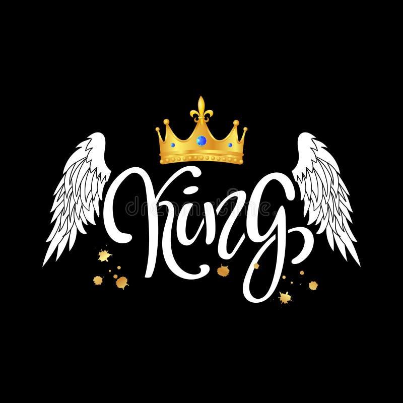 konung typografislogantryck med kronan och vingar vektor illustrationer