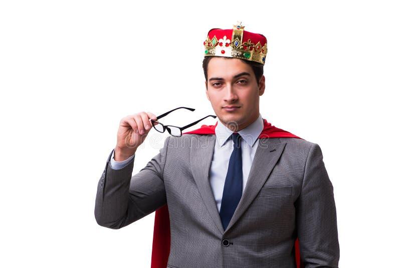 Konungaffärsmannen som bär den röda räkningen på vit royaltyfri fotografi