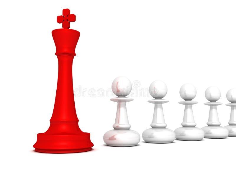 Konungen för schack för ledarskapbegreppet pantsätter den röda av laget royaltyfri illustrationer