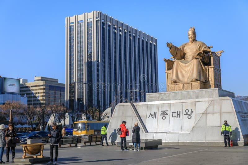 Konungen Sejong Statue på den Gwanghawmun fyrkanten royaltyfria foton
