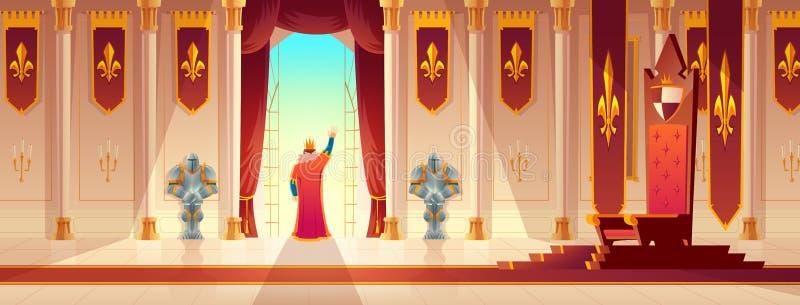 Konunghälsningfolkmassa från balkongtecknad filmvektor royaltyfri illustrationer
