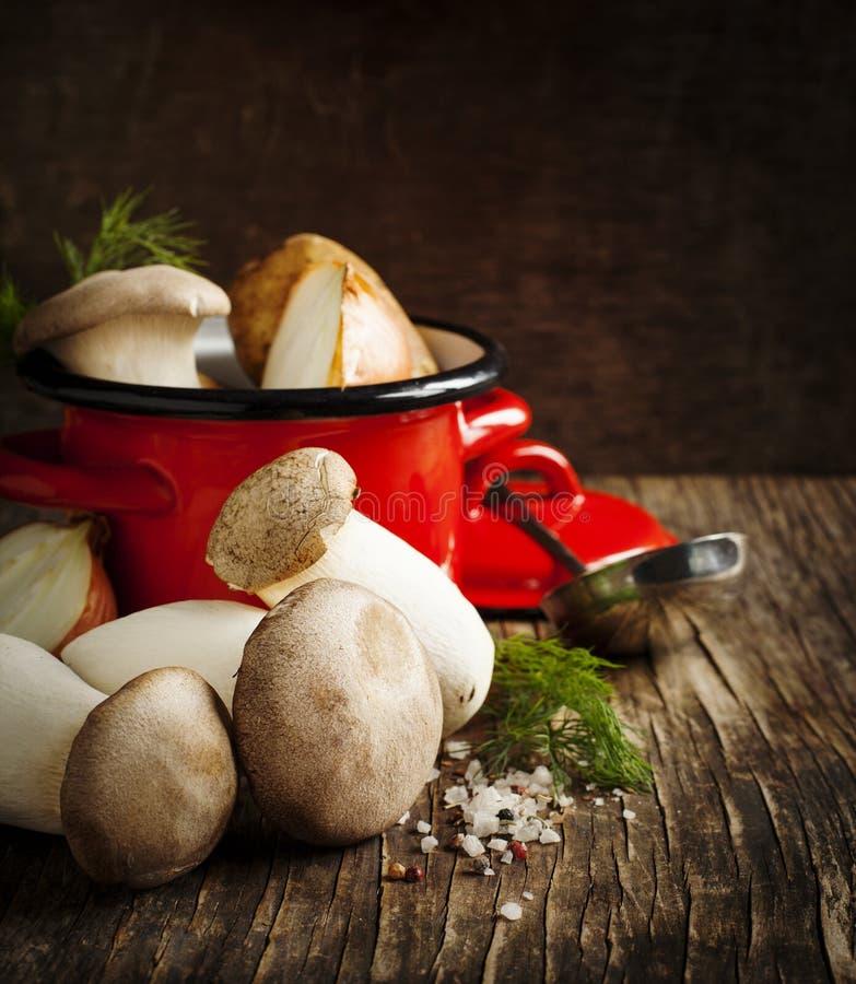 Konungtrumpetchampinjoner och grönsaker för att laga mat soppa arkivbilder