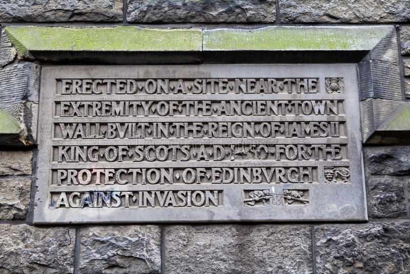 Konungväggplatta i Edinburg arkivbild