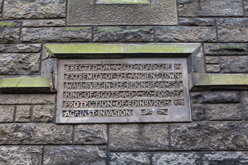 Konungväggplatta i Edinburg arkivfoto