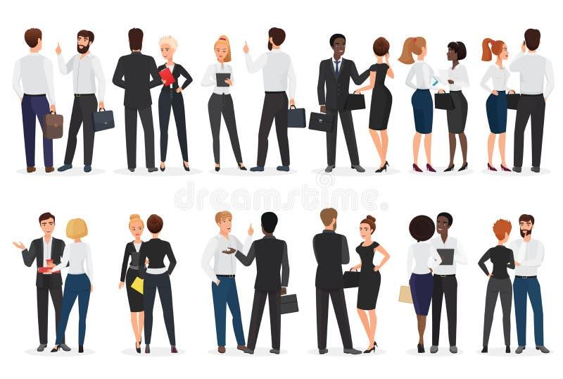 Konversation för affärsfolk Man och kvinna som tillsammans står och talar och att diskutera och att förhandla Framdel- och baksid stock illustrationer