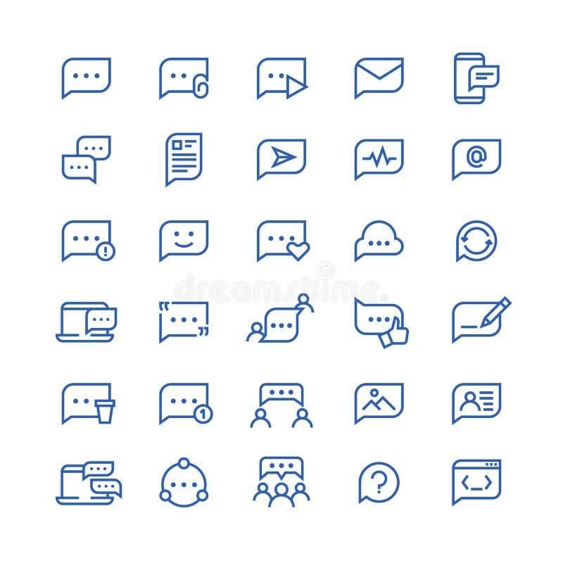 Konversationmeddelandeformer, symboler för dialoganförandebubbla Prata telefonvektorlinjen symboler stock illustrationer