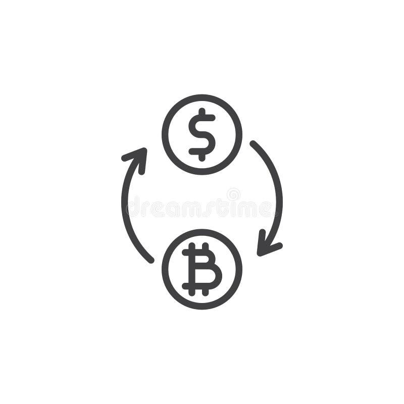 Konvertera bitcoin till dollarlinjen symbol vektor illustrationer