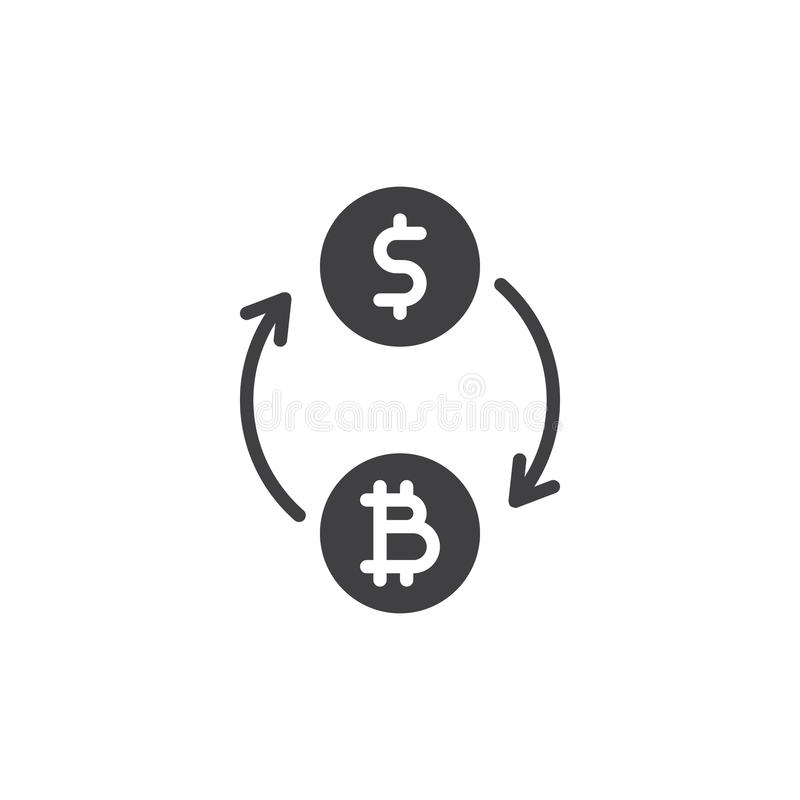 Konvertera bitcoin till dollarvektorsymbolen royaltyfri illustrationer