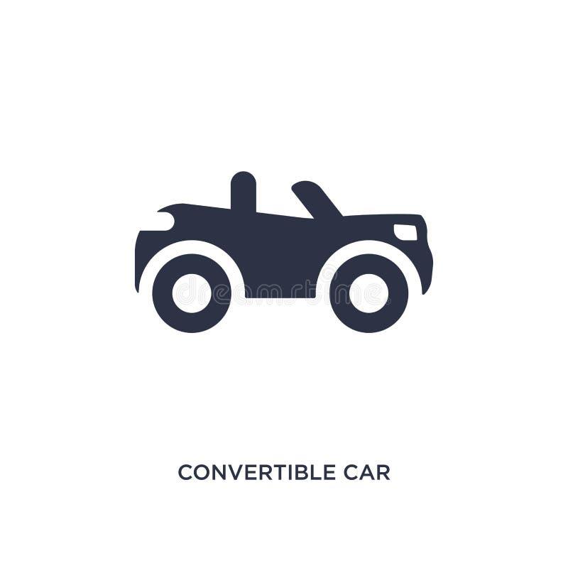 konvertierbare Autoikone auf weißem Hintergrund Einfache Elementillustration von mechanicons Konzept stock abbildung