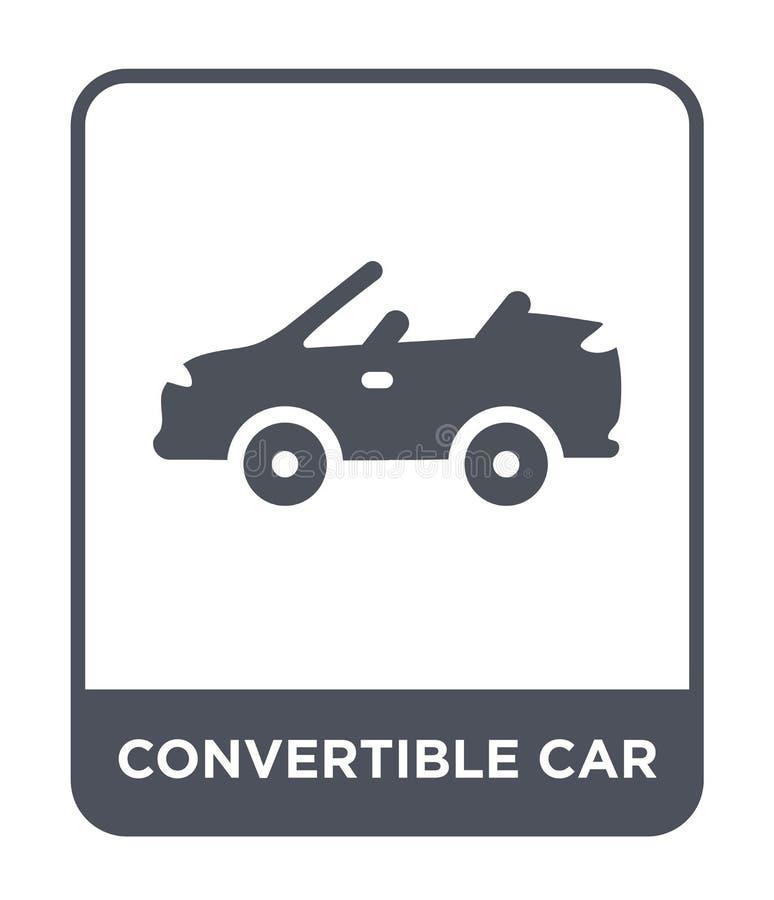 konvertierbare Autoikone in der modischen Entwurfsart konvertierbare Autoikone lokalisiert auf weißem Hintergrund konvertierbare  lizenzfreie abbildung