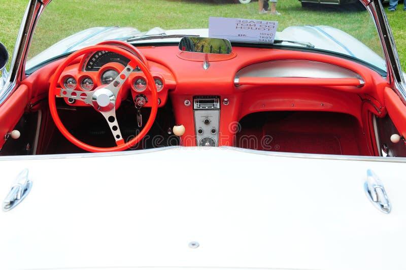 Konvertierbarer Korvette-Innenraum stockbild