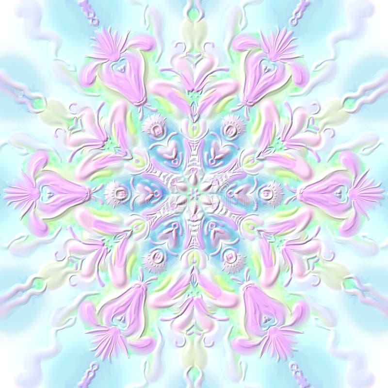 Konvexa rosa färg-blått för julsnöflingalättnad stock illustrationer