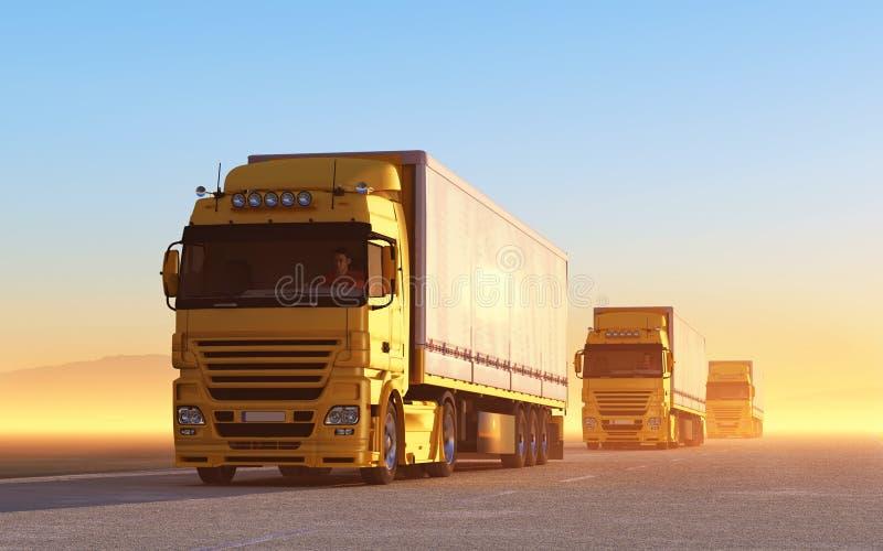 Konvooi van vrachtwagens