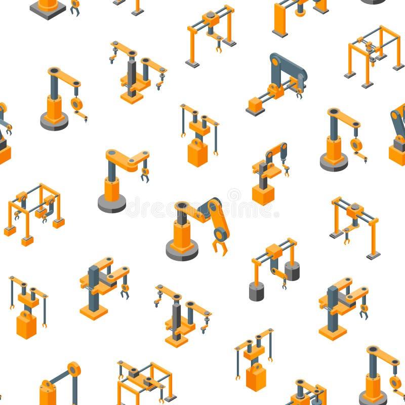 Konwejer maszyn ręki Mechanicznego Bezszwowego Deseniowego tła Isometric widok wektor ilustracja wektor