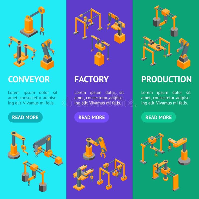 Konwejer maszyn ręki Mechanicznego sztandaru Vecrtical Ustalony Isometric widok wektor ilustracja wektor