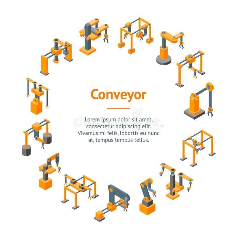Konwejer maszyn ręki sztandaru karty Mechaniczny okrąg wektor ilustracji