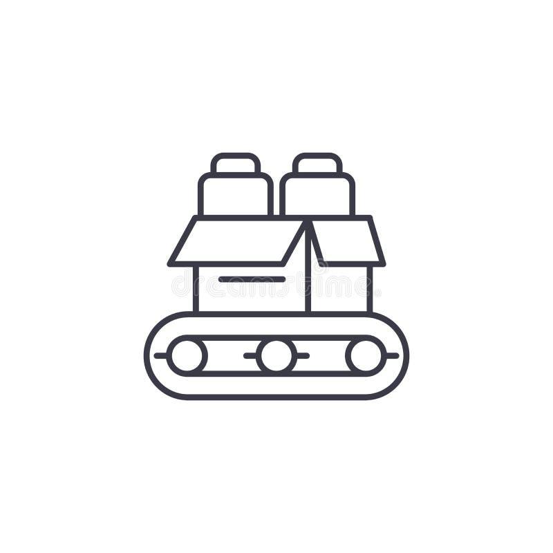 Konwejer produkci ikony liniowy pojęcie Konwejer linii produkcyjnej wektoru znak, symbol, ilustracja ilustracji