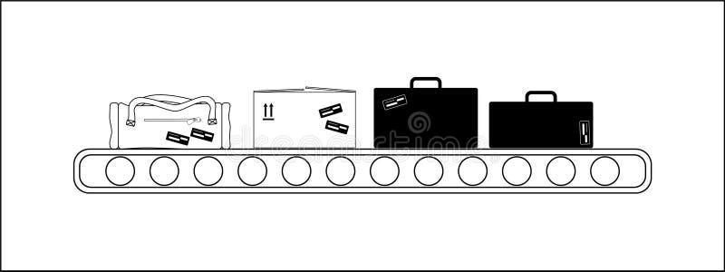 Konwejer w lotniskowego transportu lampasie royalty ilustracja