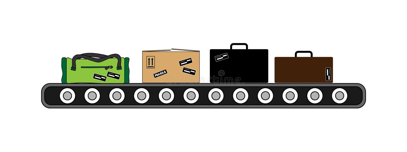 Konwejer w lotniskowego transportu lampasie ilustracji