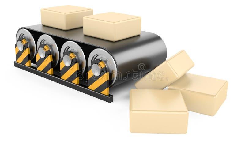 Konwejer z pudełkami. ilustracji