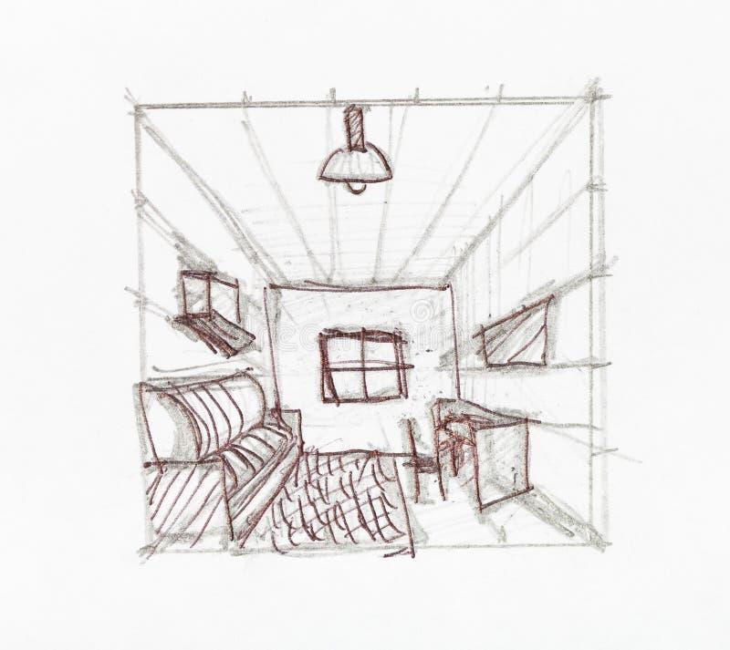 Konwergencja perspektywa wykłada w domowym pokoju royalty ilustracja