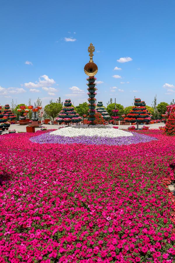Konya/die Türkei am 7. Juni 2019 Blumenpark-Cicek-Park Konya Selcuklu lizenzfreies stockbild