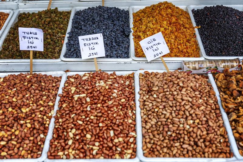 Konya, Turkey, 05/12/2019: A variety of nuts on the counter in the market. Horizontal royalty free stock image