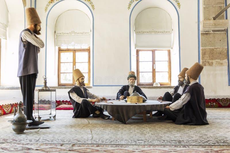 Konya, Turquía, 05/12/2019: Figuras de cera en el museo de Mevlana imágenes de archivo libres de regalías