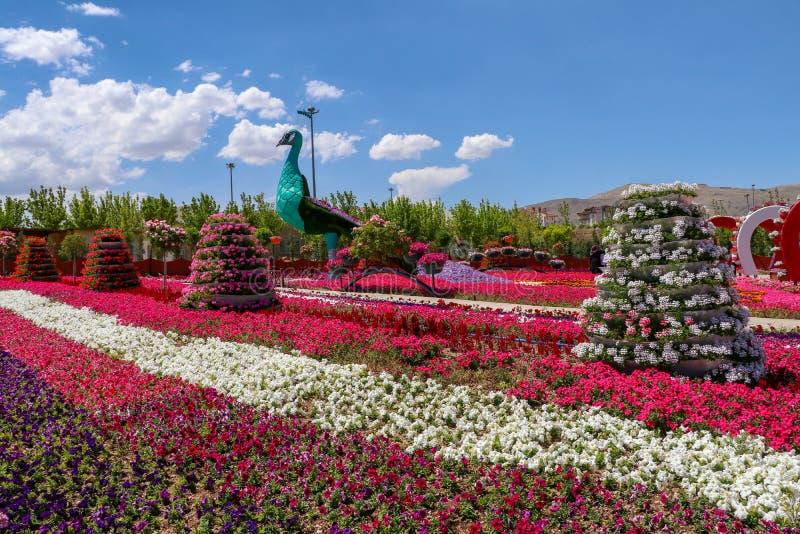 Konya/Turquia, o 7 de junho de 2019, parque de Cicek do parque da flor de Konya Selcuklu fotografia de stock royalty free
