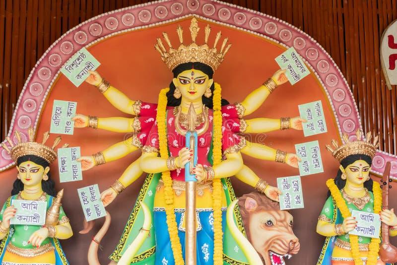 Konyashree - Durga-idool in Puja Pandal, Durga Puja-festival royalty-vrije stock foto's