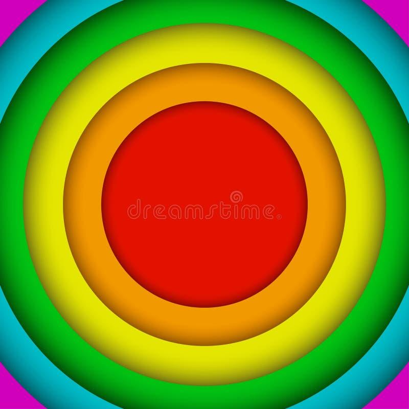 Konzentrische Kreise Lgbt-Regenbogen-Flagge Homosexuelle Farben stock abbildung
