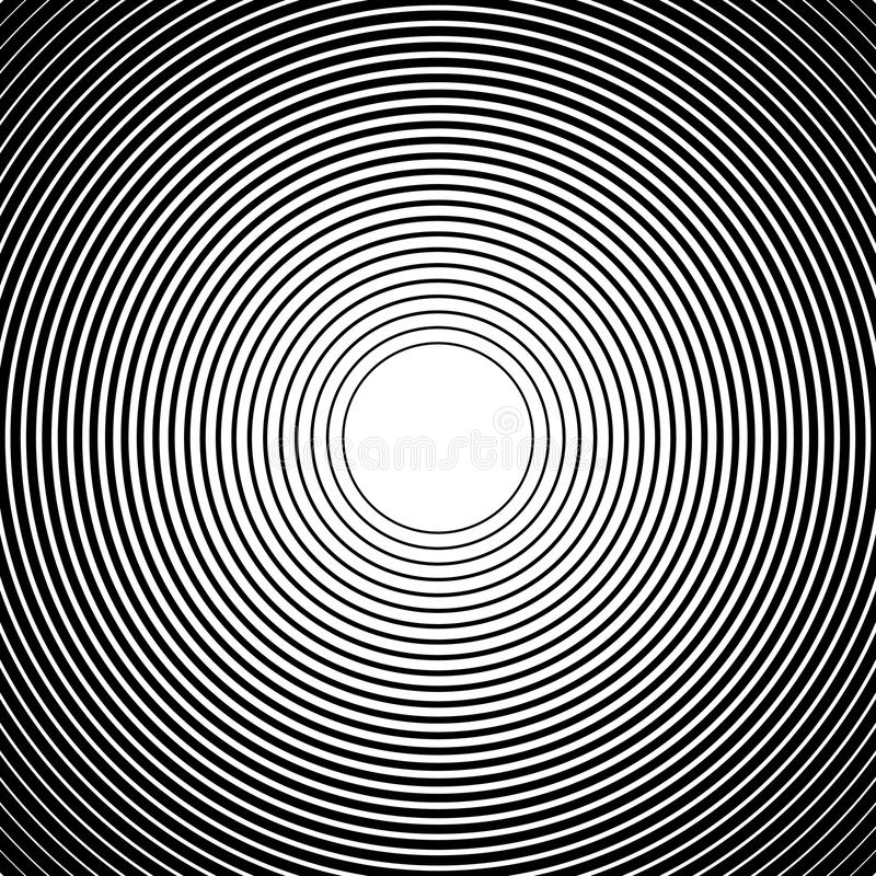 Konzentrische Kreise, Radiallinien Muster Einfarbige Zusammenfassung lizenzfreie abbildung